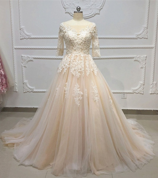 Champagne Tulle White Lace Applique Half Sleeve Long Wedding Dress_2