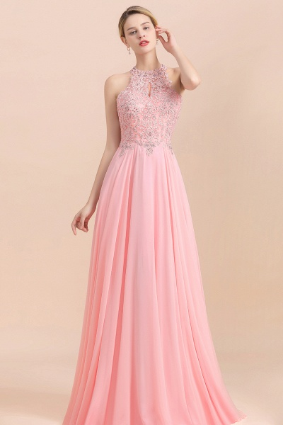 Pears Crystal A Line Halter Wedding Dresses Lace Wedding Gowns_5