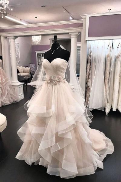 2021 Creamy Tulle Sweetheart Wedding Dress Beaded Waistline_1