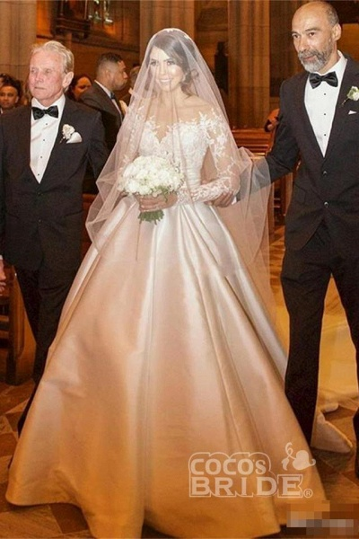 Romantic Lace Satin Skirt with Long Sleeves Illusion Back Wedding Dress_5