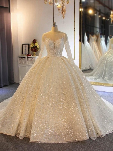 Sparkling Shinny Lone Sleeves Lace- Up Ball Gown Wedding Dresses_1