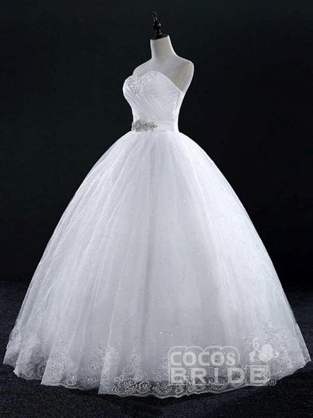 Sweetheart Lace Ball Gown Wedding Dresses_2