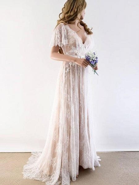 Gorgeous V-Neck Cap Sleeves Lace Wedding Dresses_4
