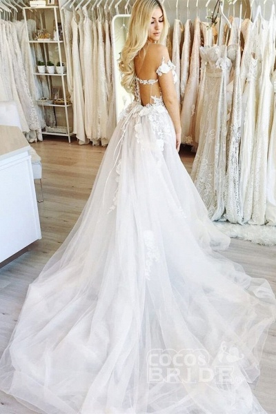 New Chapel Train Appliques Tulle Wedding Dress_2