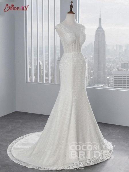 Elegant Cap Sleeves Lace-up Mermaid Wedding Dresses_2