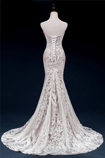 Vintage Lace Tulle Sweetheart Mermaid Wedding Dress_2