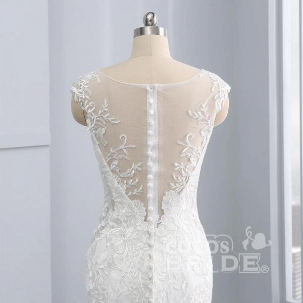 New V-Neck Lace Mermaid Wedding Dresses_6