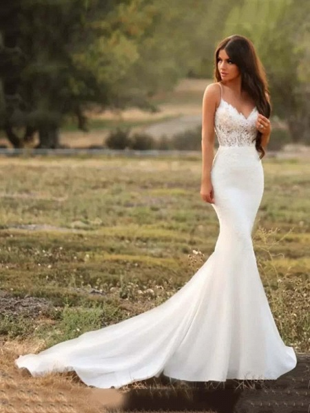 Spaghetti-Strap V-Neck Mermaid Wedding Dresses_1