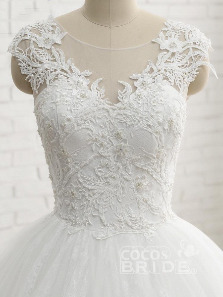 Lace-Up Tulle Ball Gown Wedding Dresses_5