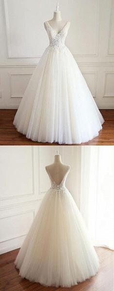 White Tulle Lace Open Back Long  Wedding Dress_4