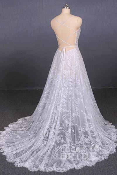 Spaghetti Straps Sweetheart Lace Wedding Dress_3