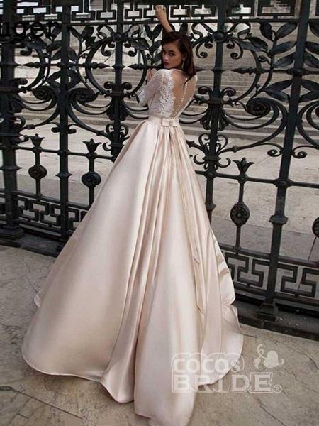 Vintage Half Sleeves Lace Satin Wedding Dresses_3