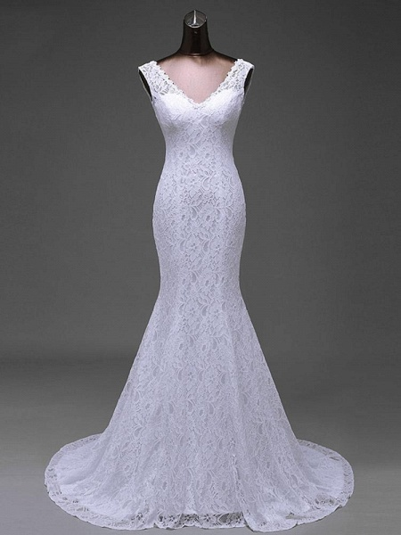 V-Neck Backless Lace Mermaid Wedding Dresses_1