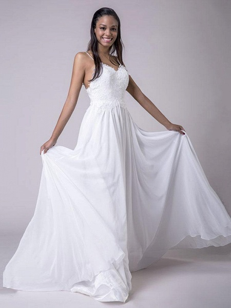 Modest Spaghetti-Strap A-Line Ruffles Wedding Dresses_1