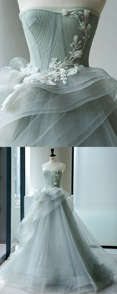 Sweetheart Gray Green Organza Long A Line Wedding Dress_3
