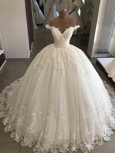 V-Neck Lace Sequins Ball Gown Wedding Dresses_1