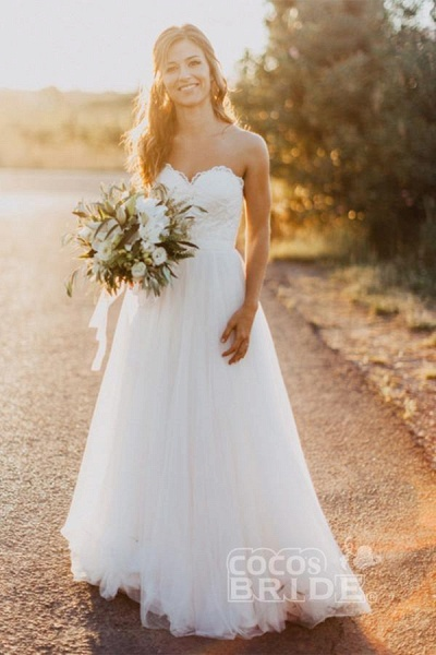 Sexy Sweetheart White Tulle Backless Beach with Lace Long Wedding Dress_2