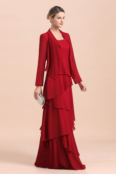 Elegant Burgundy Ruffles Chiffon Mother of the Bride Dress With Jacket_6
