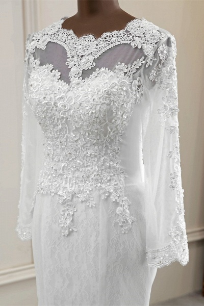 Elegant Mermaid Tulle Jewel Long Sleeves Wedding Dress_5