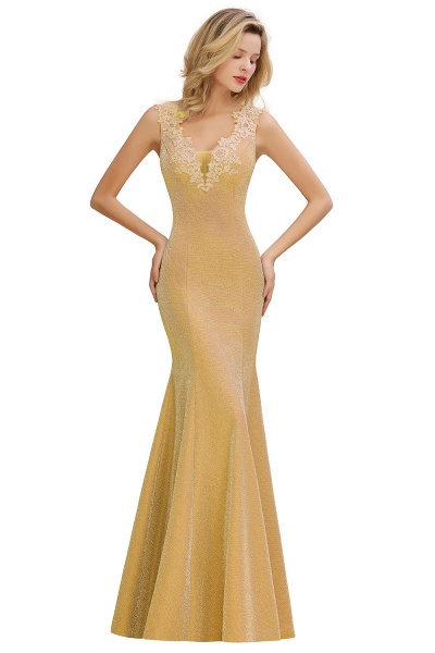 Fascinating V-neck Lace Mermaid Evening Dress_3