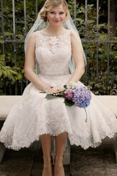 A Line Sleeveless Knee Length Lace Wedding Dress_1