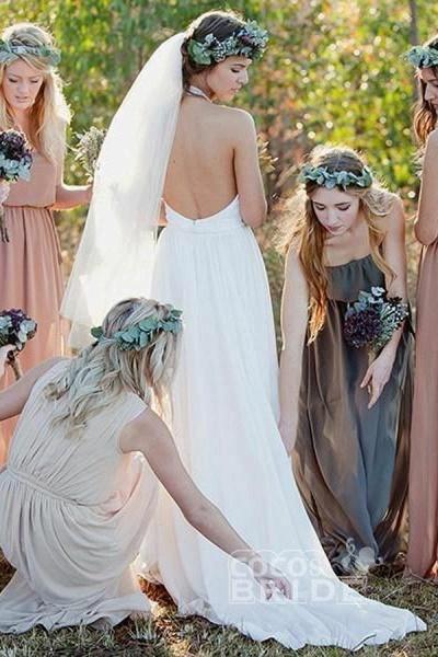 Fashion A-line Halter Sleeveless Backless Chiffon Beach Wedding Dress_2