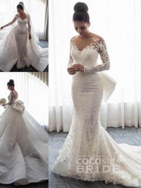 Long Sleeves Lace Mermaid Wedding Dresses_5