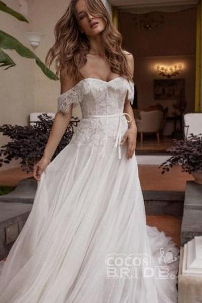 A-line Off Shoulder Beach Lace Boho Wedding Dress_2