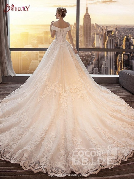 Glamorous Lace-up Beaded Ball Gown Wedding Dresses_2