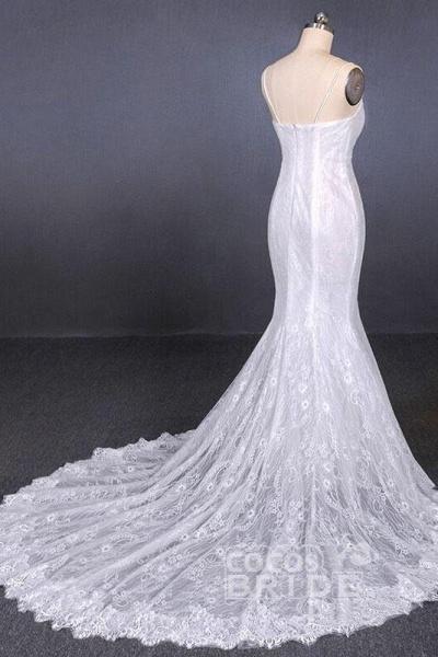 Spaghetti Straps Mermaid with Appliques Lace Beach Wedding Dress_4