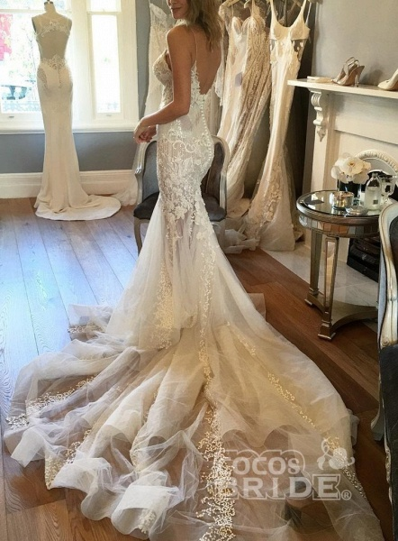 Spaghetti Straps Mermaid Appliqued V-neck Tulle Wedding Dress_2
