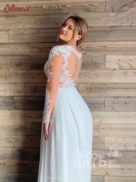 Gorgeous V-Neck Long Sleeves Lace Ruffles Wedding Dresses_2