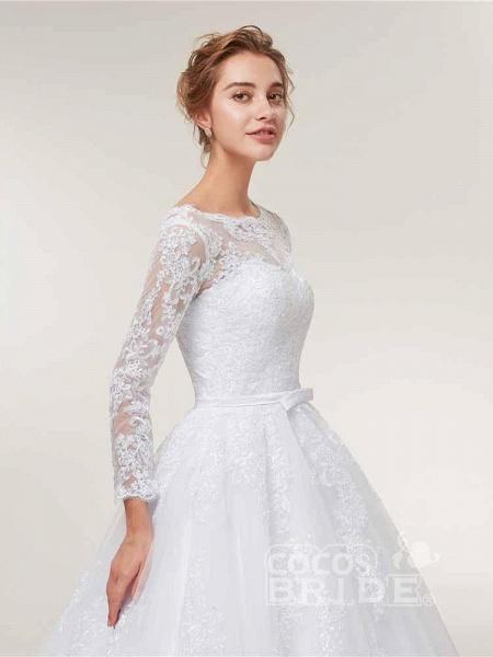 Glamorous Long Sleeve Lace Ruffles Wedding Dresses_5