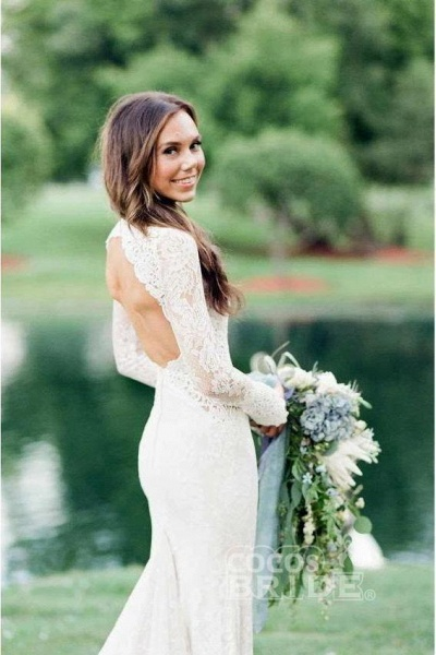 Elegant Mermaid Backless Long Sleeve Lace Wedding Dress_2