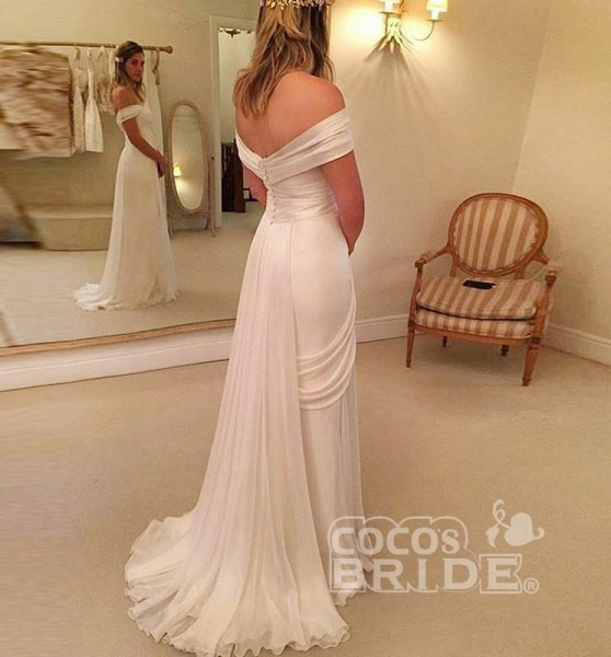 A-Line Off-the-Shoulder Long Chiffon Beach Wedding Dress_2