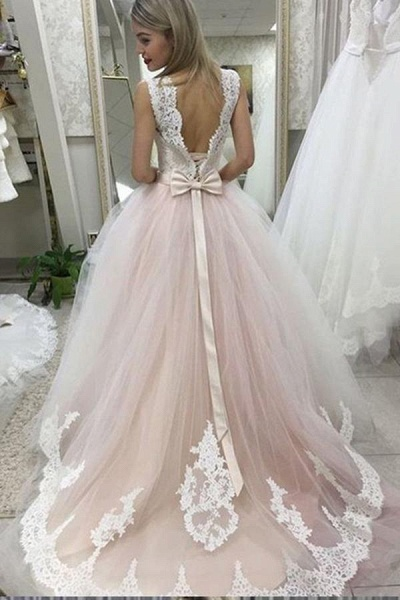 Pale Pink Court Train with Lace Appliques Sleeveless Wedding Dress_1