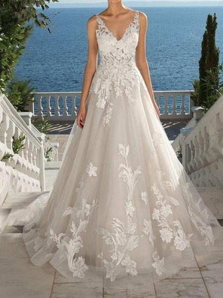 Lace Appliques Open Back A-Line Wedding Dresses_1