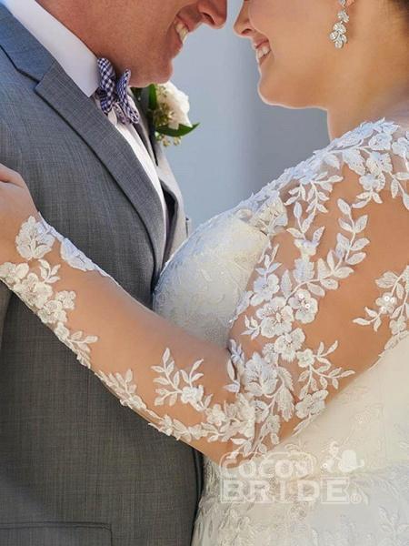 V Neck Appliques Lace Long Sleeve A Line Wedding Dresses_4