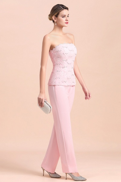 Strapless Lace Appliques Mother of Bride Jumpsuit with Long Sleeves Wraps_10