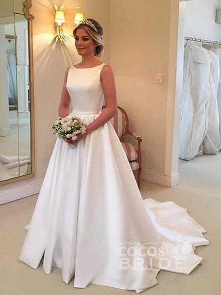 Cheap Bateau Sleeveless A Line Wedding Dress_2