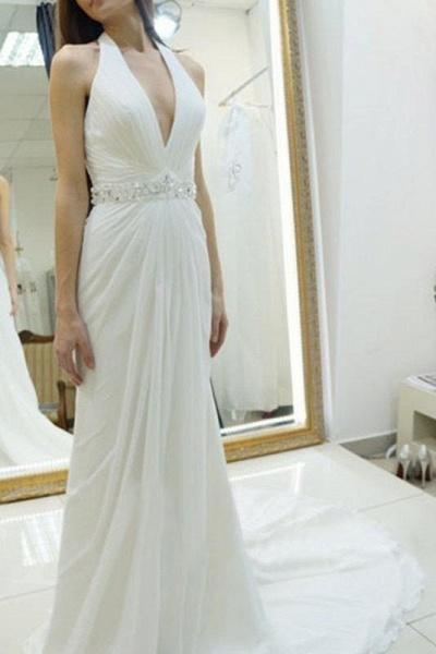 A-line Halter Chiffon Backless Court Train Beach Wedding Dress_1