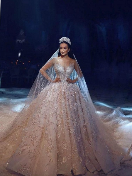 Luxury Long Sleeve V Neck Royal Ball Gown Wedding Dresses_1