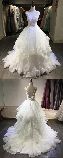 White Lace Open Back Long Pageant Lace Layered Wedding Dress_5