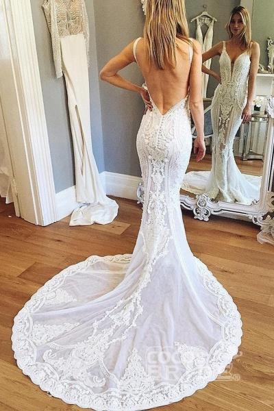 Straps Mermaid Deep V-neck Sleeveless Backless Tulle Beach Wedding Dress_2