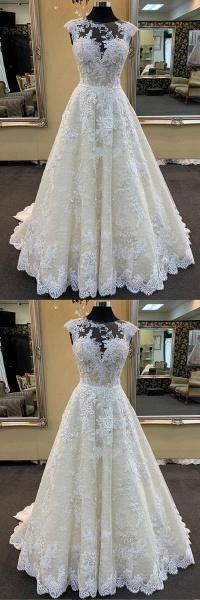 Ivory Lace Round Neck Cap Sleeve Sweep Train Wedding Dress_2