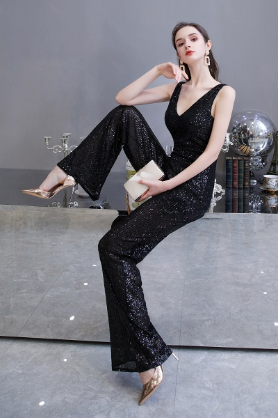 Sexy Shining V-neck Sleeveless Prom Jumpsuit with Silver Sequins_16