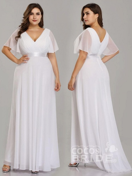 Empire Waist V-neck Half-Sleeves Ruffles Wedding Dresses_5