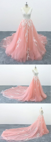 Peach Pink Tulle Cathedral Train Lace Wedding Dress_4