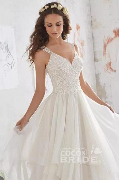 Straps V Neck Illusion Chiffon Beach Gown Cheap Wedding Dress_4