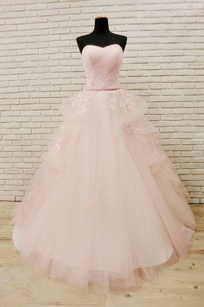 Unique Pink Tulle Long Corset Plus Size Wedding Dress_1